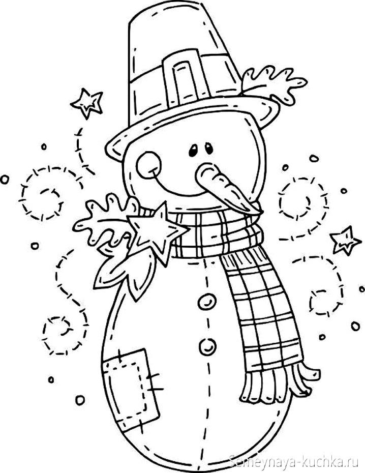 раскраска новогодняя снеговик
