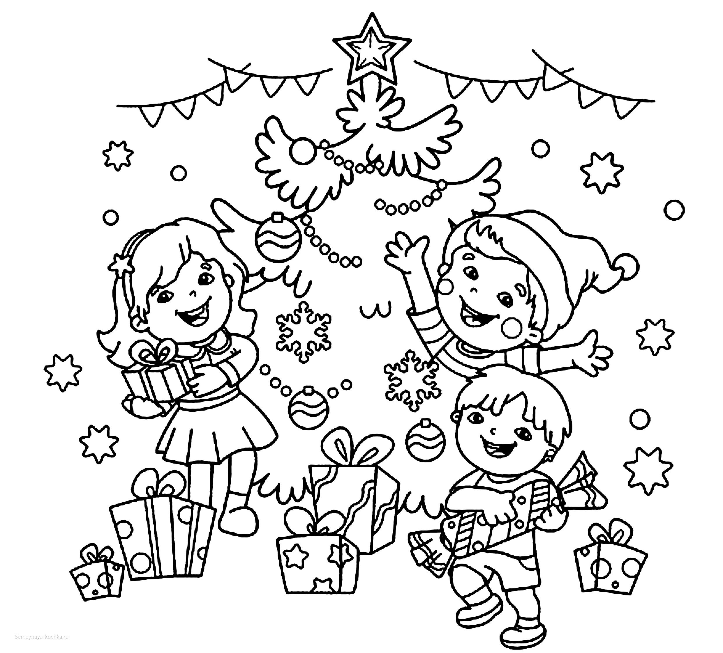 раскраска новогодняя дети и елка