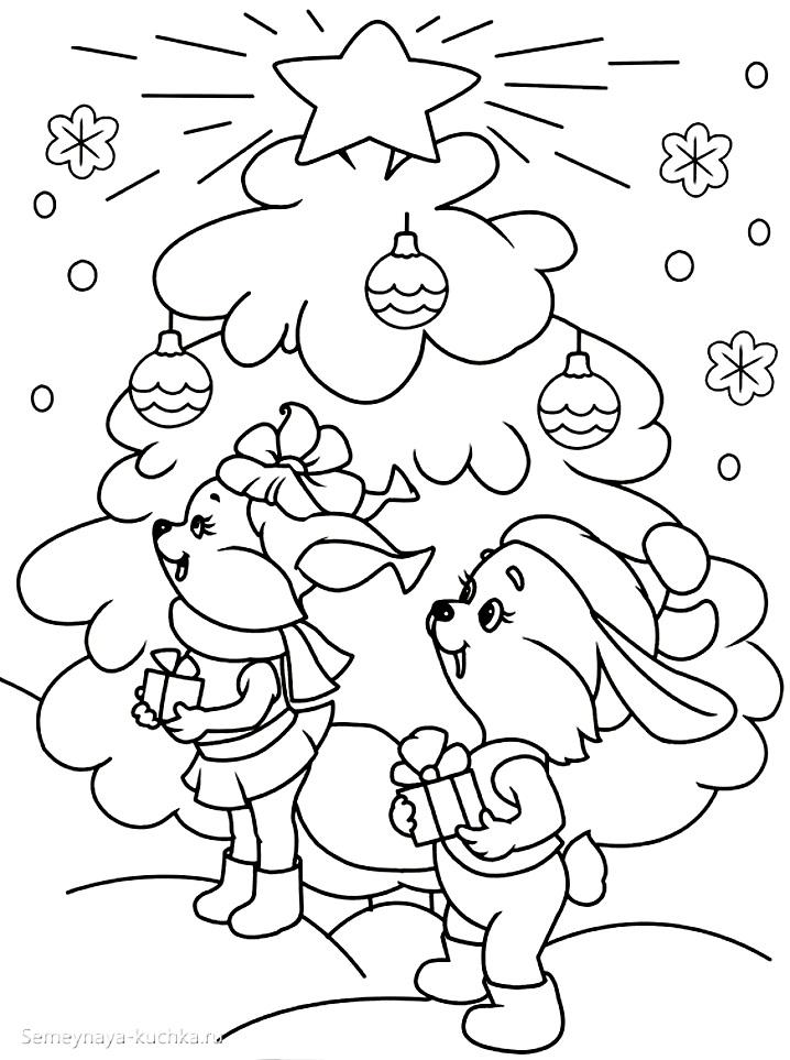 раскраска новогодняя елочка