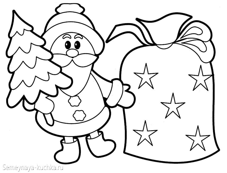 раскраска новогодняя дед мороз
