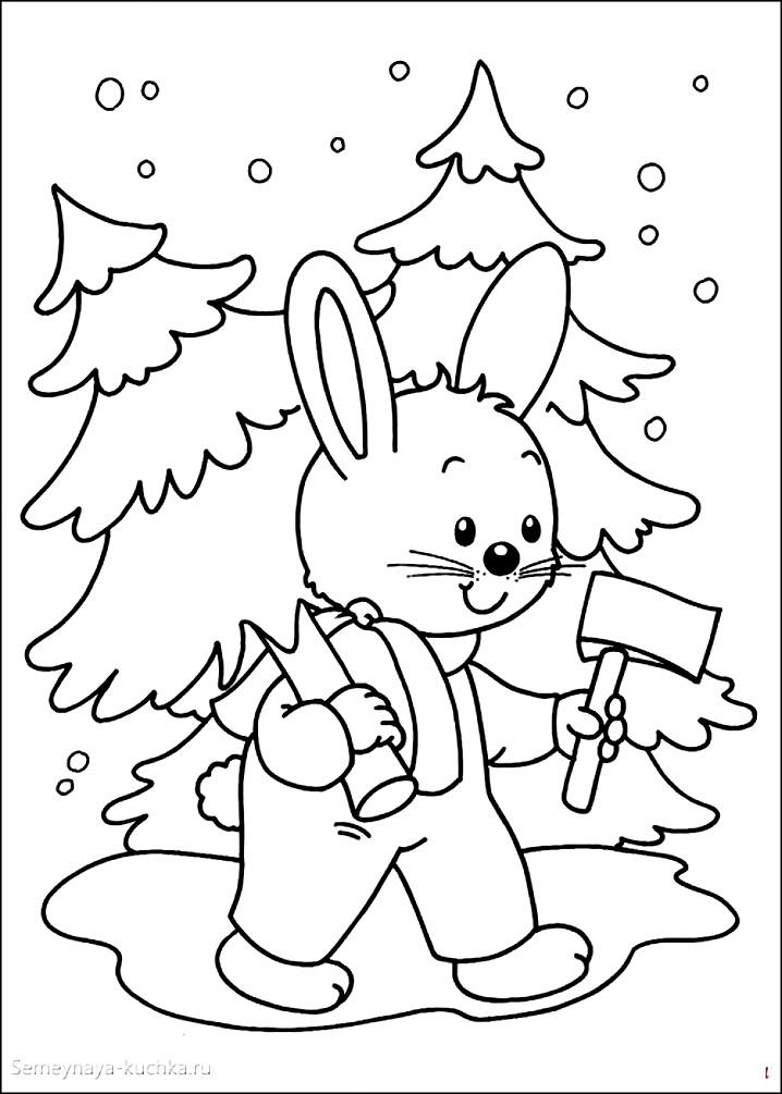 раскраска новогодняя заяц и елка