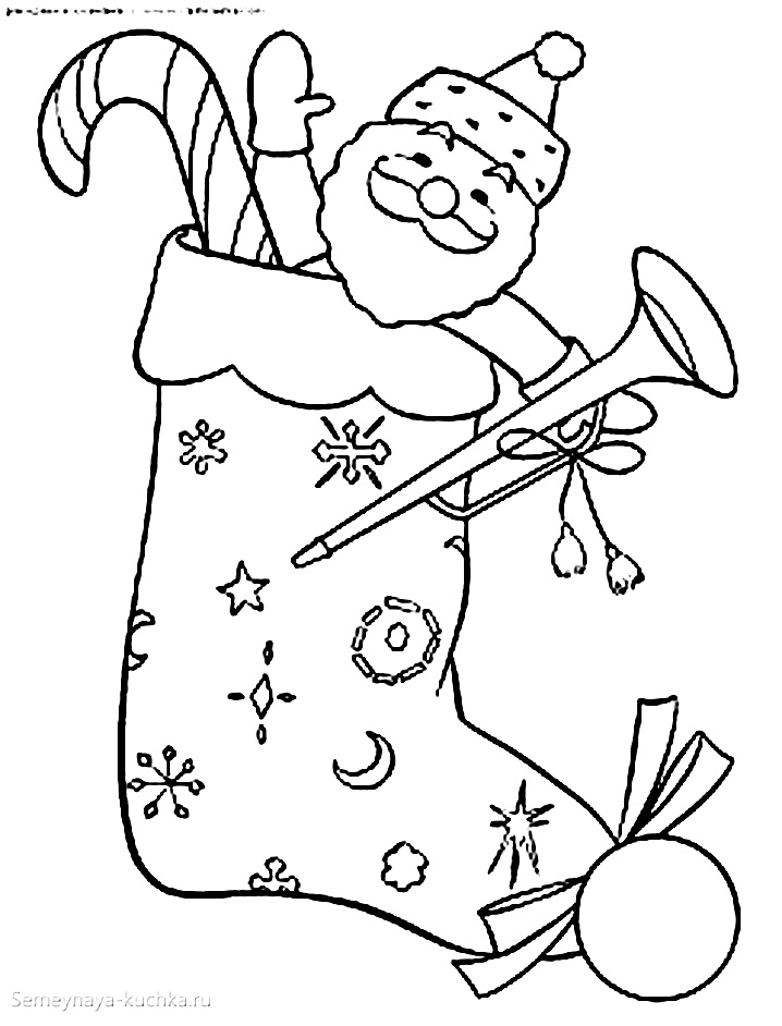 раскраска новогодняя сапожок валенок