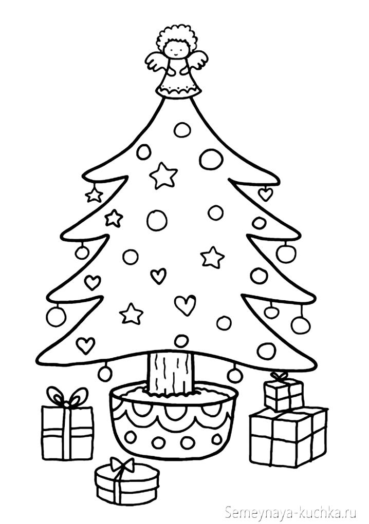 раскраска новогодняя елочка нарядная