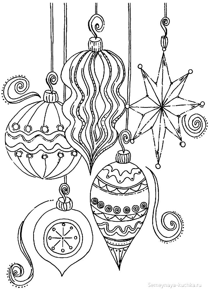 раскраски новогодние елочные украшения