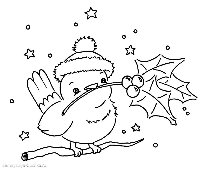 раскраски новогодние с пьичками