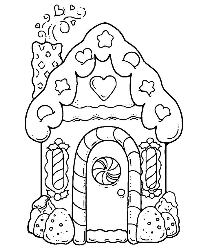 раскраски новогодние пряничный домик