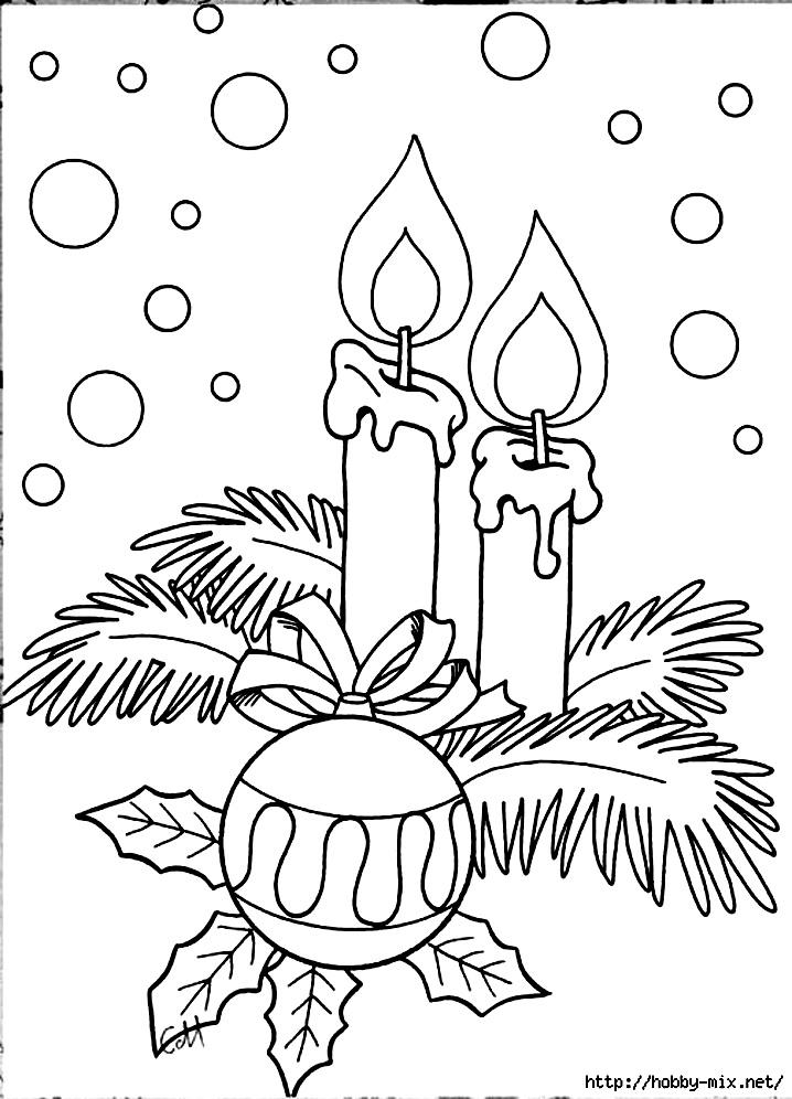 раскраски новогодние свечи и шары