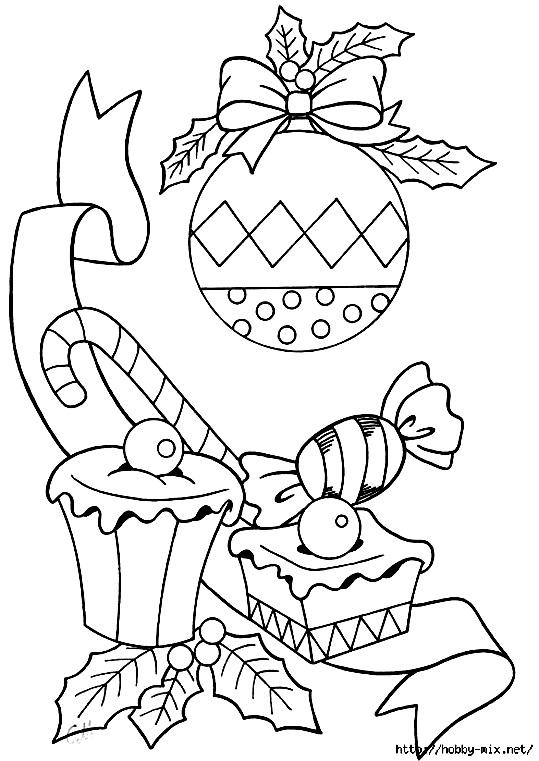 раскраски новогодние с конфетами