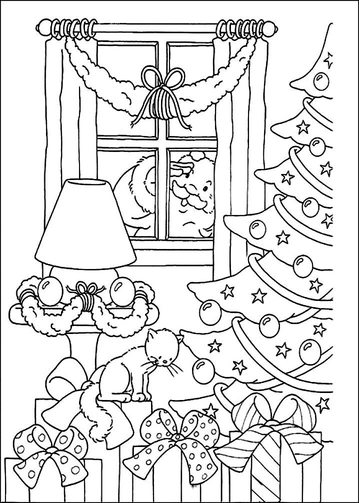 раскраски новогодние с елкой