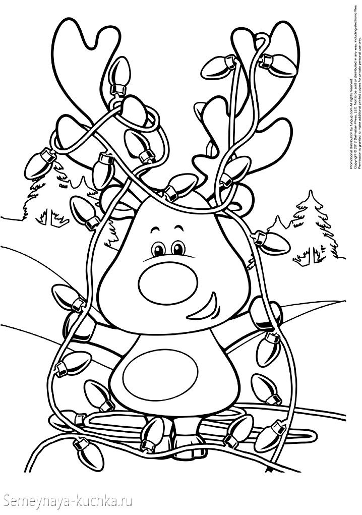 раскраски новогодние с оленем
