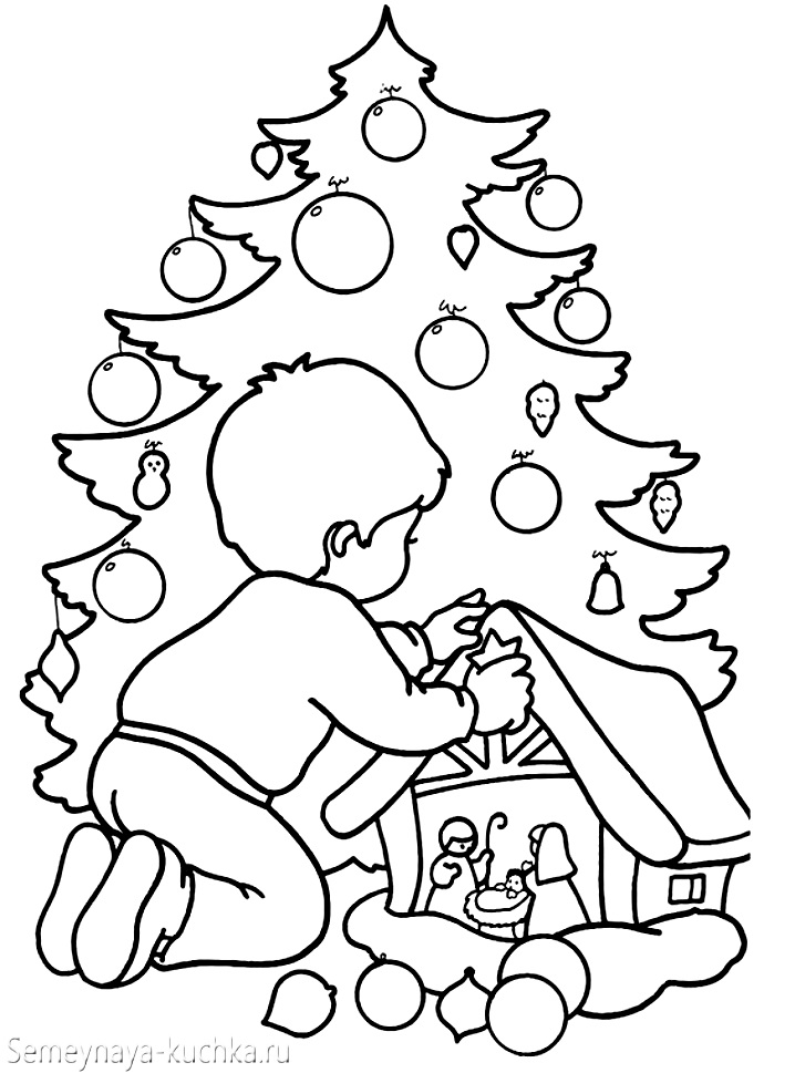 раскраски новогодние елка дети