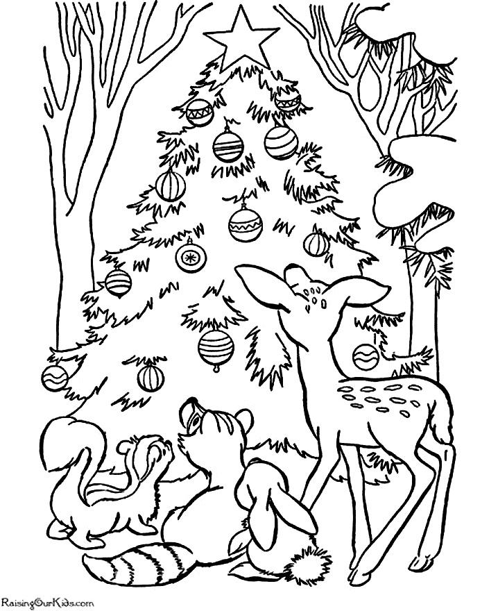 раскраски новогодние звери у елки