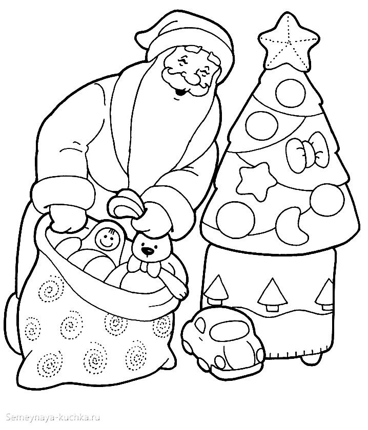 раскраска дед мороз достает подарки у елки