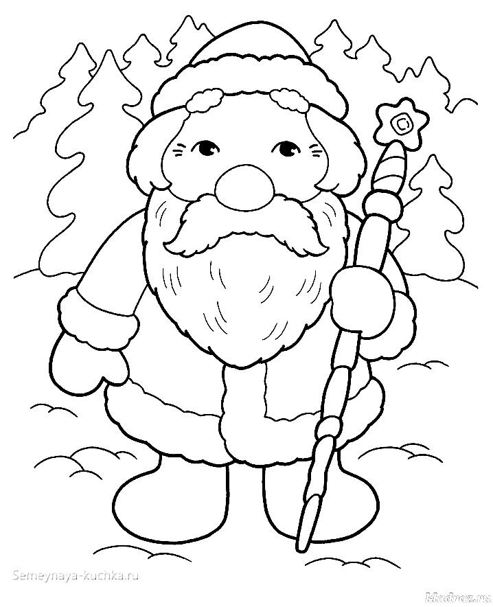 раскраска детская дед мороз в тулупе и валенках