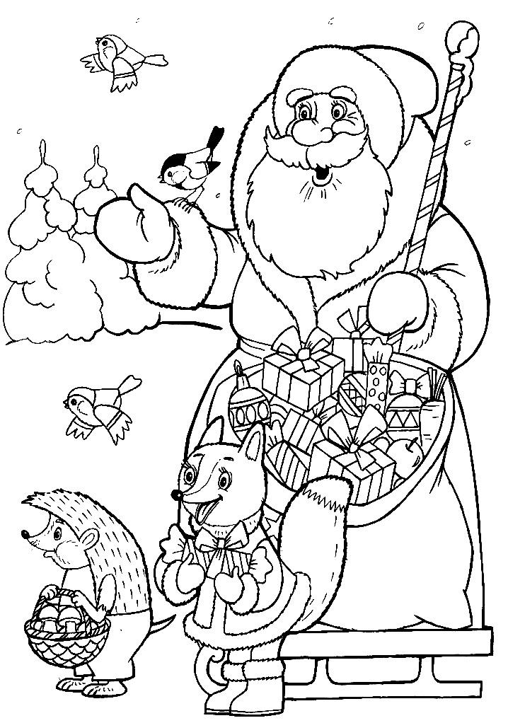раскраска дед мороз дарит подарки зверям