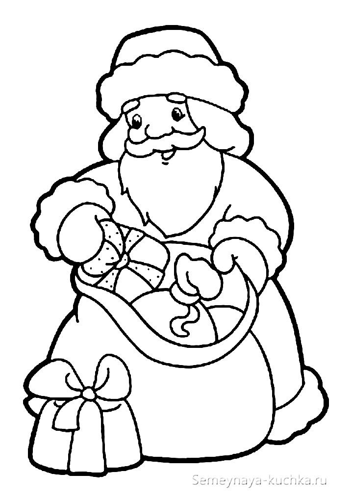 раскраска дед мороз достает подарки из мешка