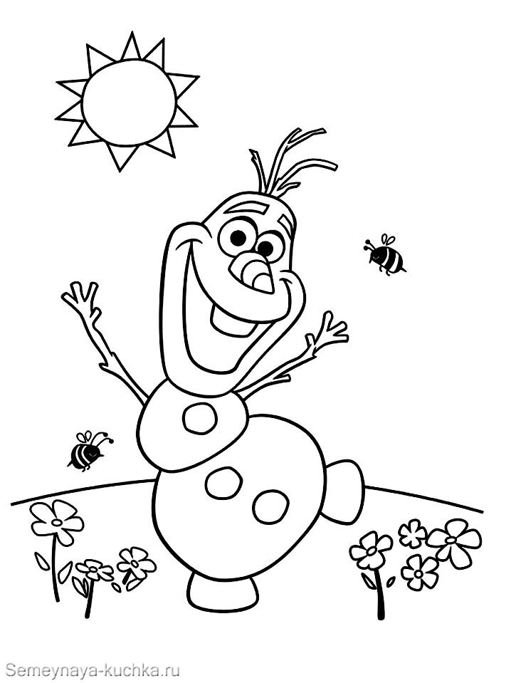 раскраска снеговик олаф