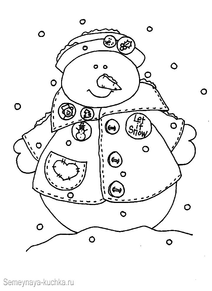 снеговик в пальто раскраска