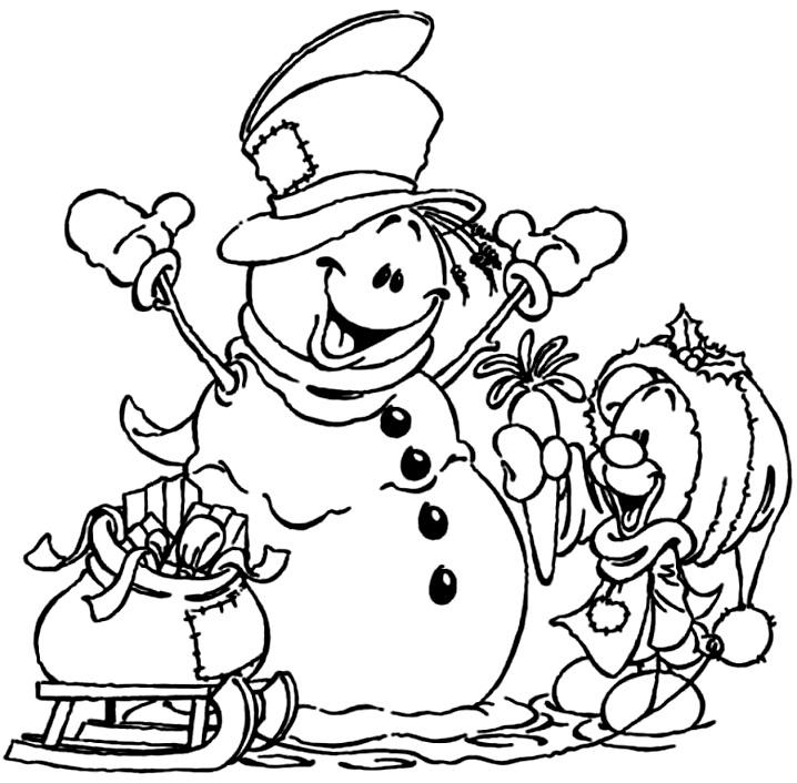 снеговик раскраска веселая