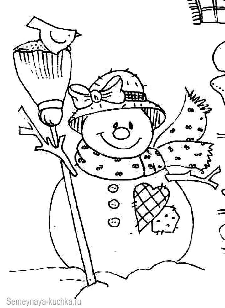 снеговик раскраска детям
