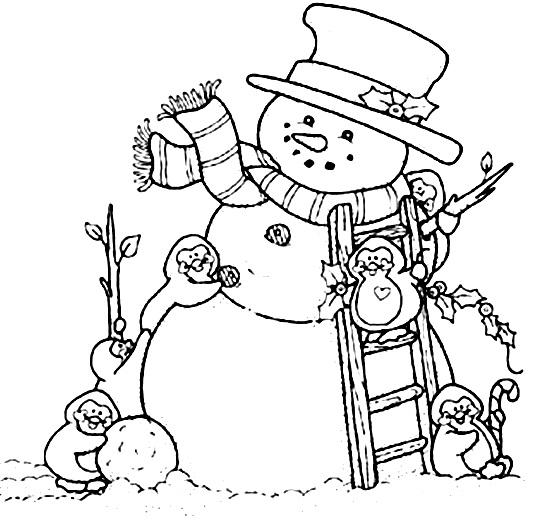 снеговик и пингвины раскраска
