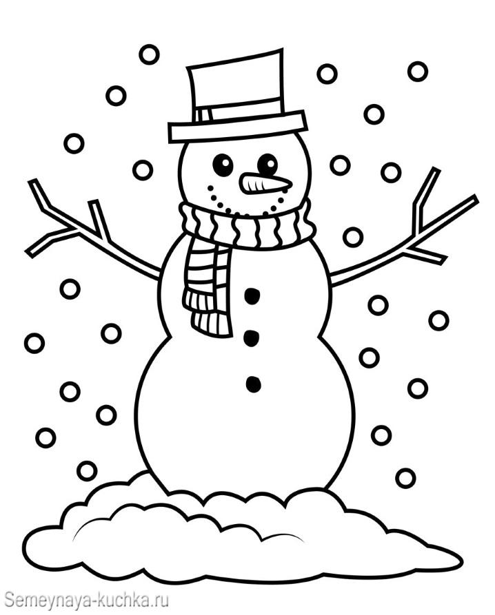 снеговик и снегопад раскраска