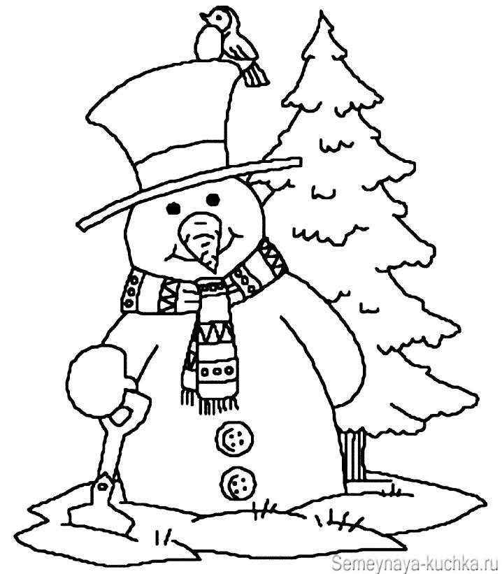 снеговик у елочки раскраска детям