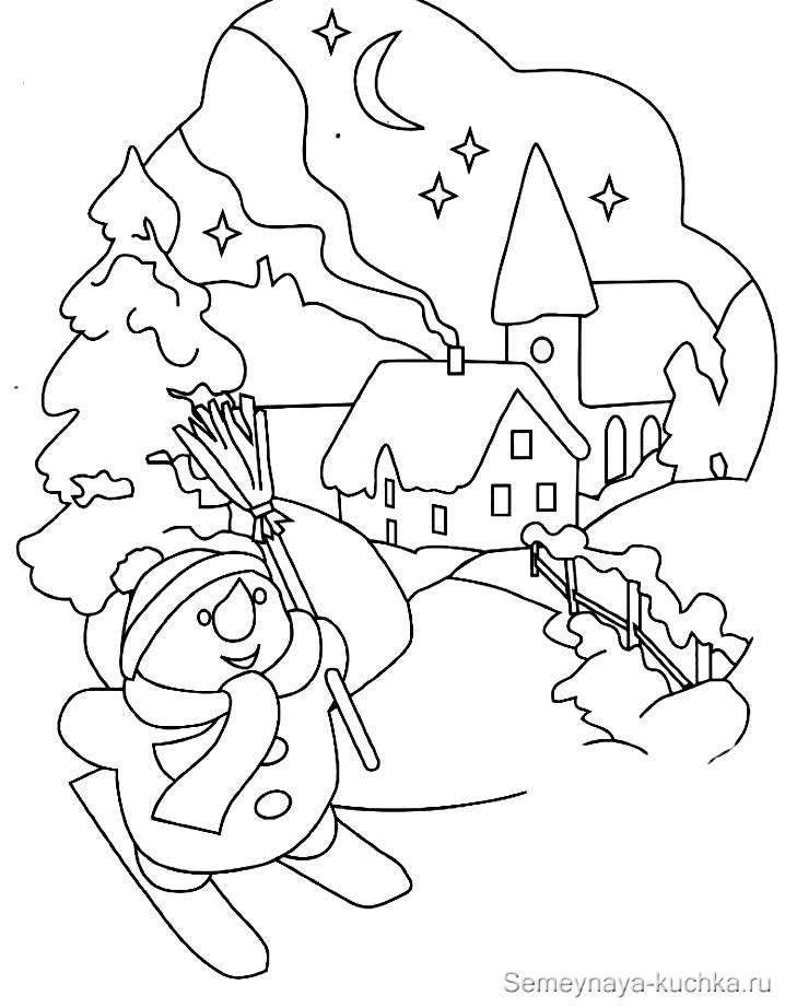 снеговик раскраска сюжетная картинка