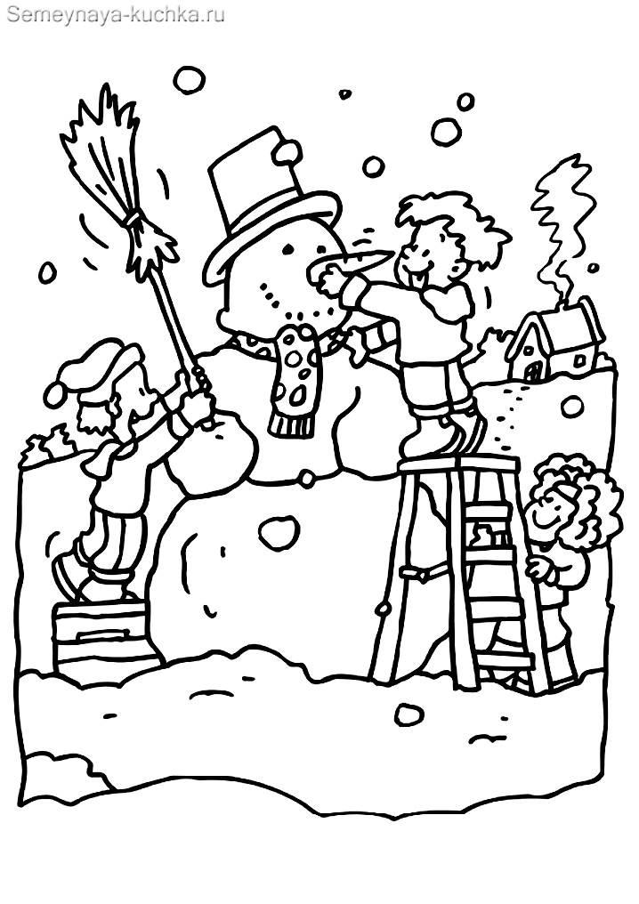раскраска дети лепят снеговика картинка