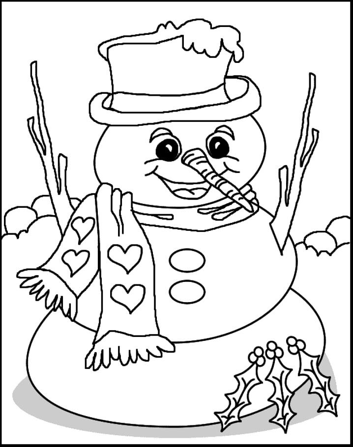 снеговик раскраска
