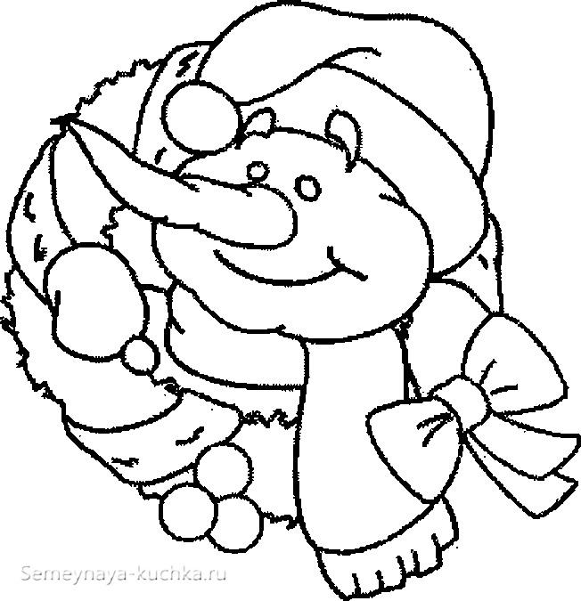 снеговик новогодняя раскраска