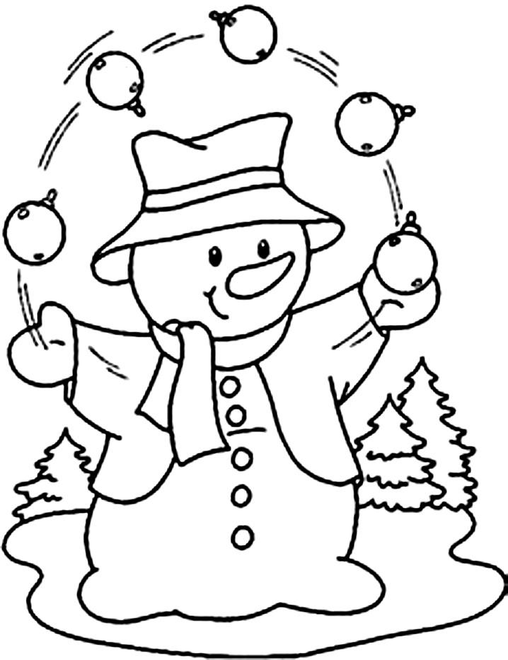снеговик жонглирует раскраска