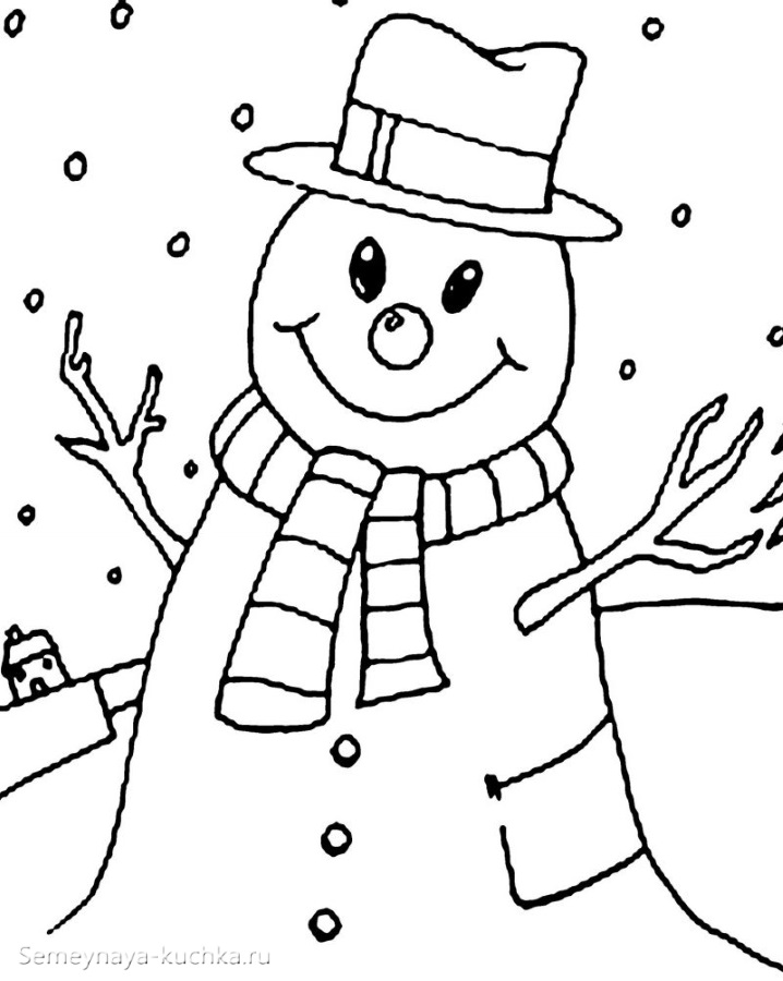 раскраска один снеговик а4