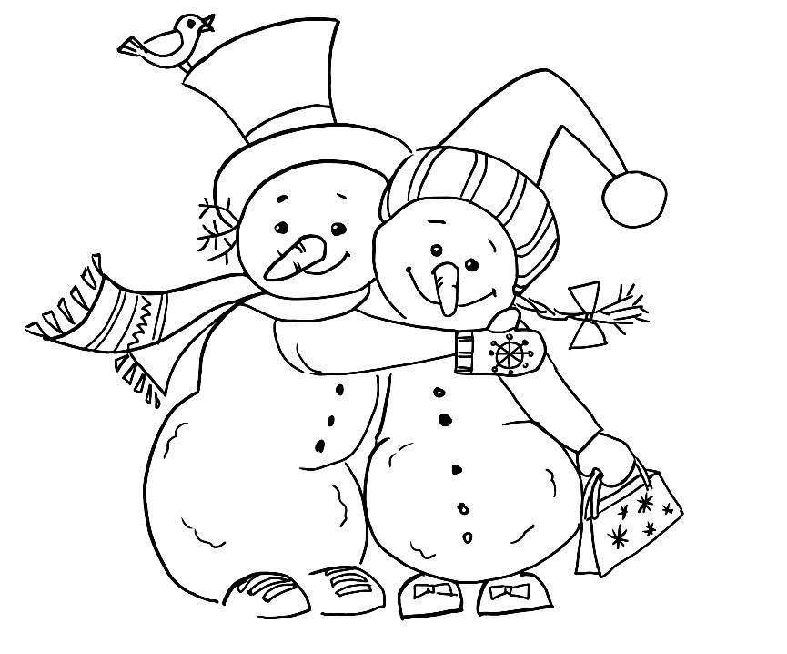 снеговик раскраска для детей два снеговика