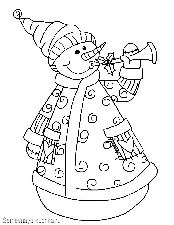 снеговик в шубе раскраска картинка