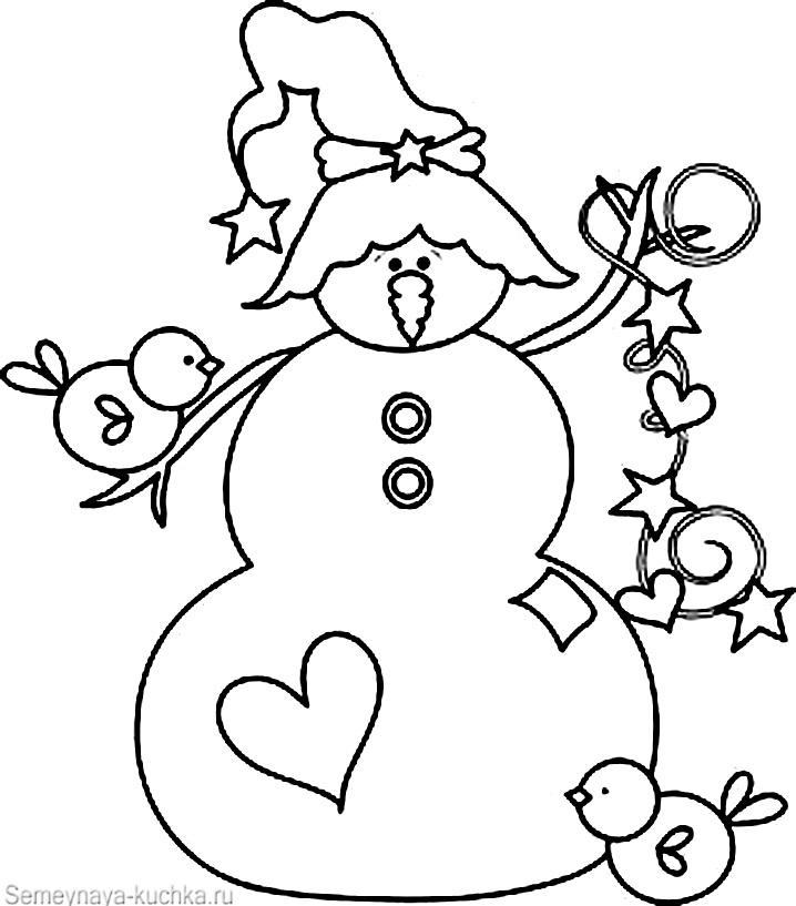 снеговик и гирлянда раскраска