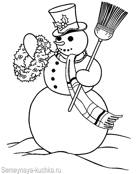 снеговик и венок раскраска детям