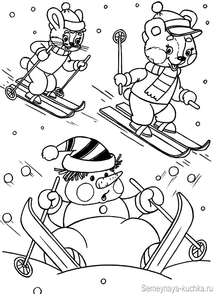 снеговик на лыжах сюжетная картинка раскраска