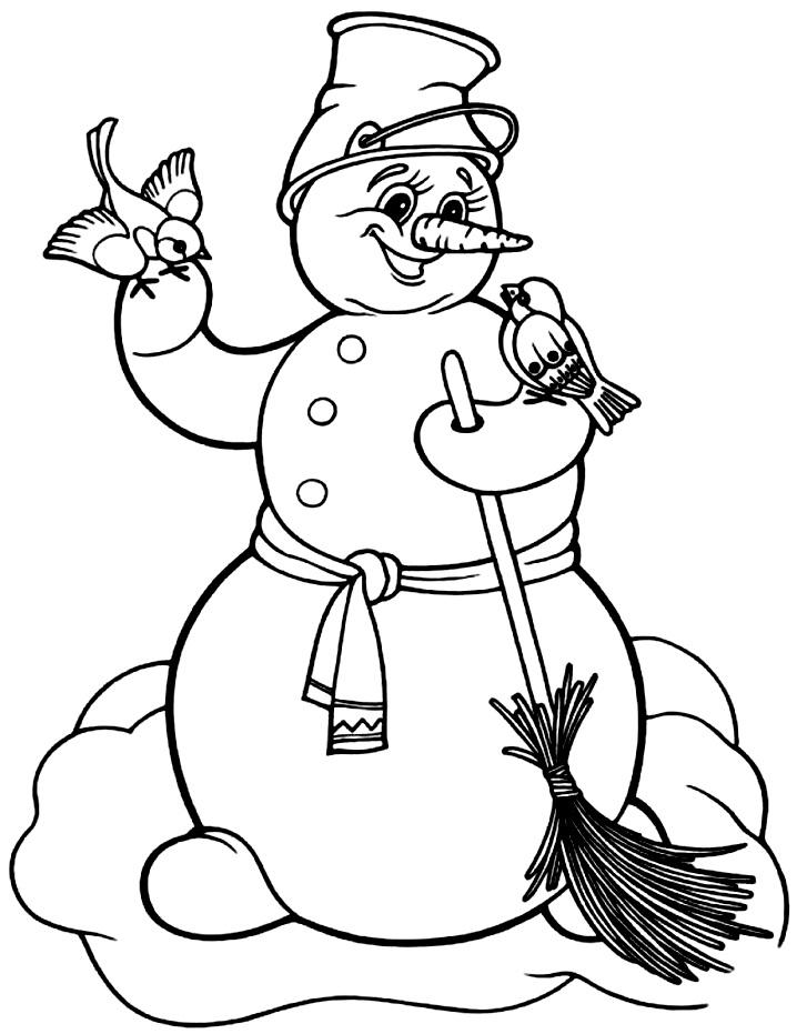 снеговик с метлой раскраска