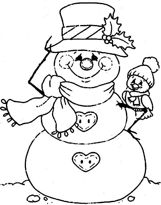 снеговик с птичкой раскраска картинка