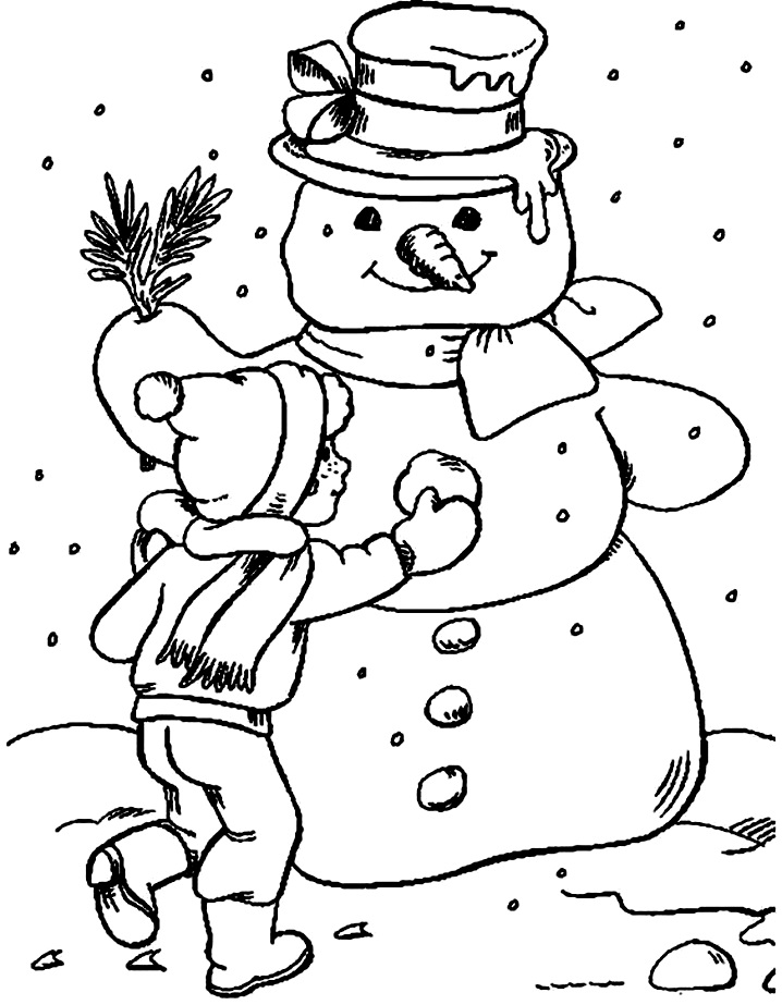 снеговик и раскраска девочка лепит