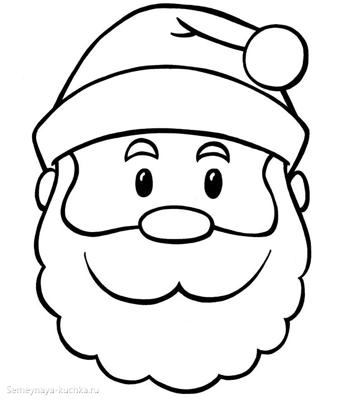 шаблон дед мороз в шапке