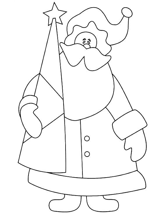 шаблон дед мороз в шубе с елкой