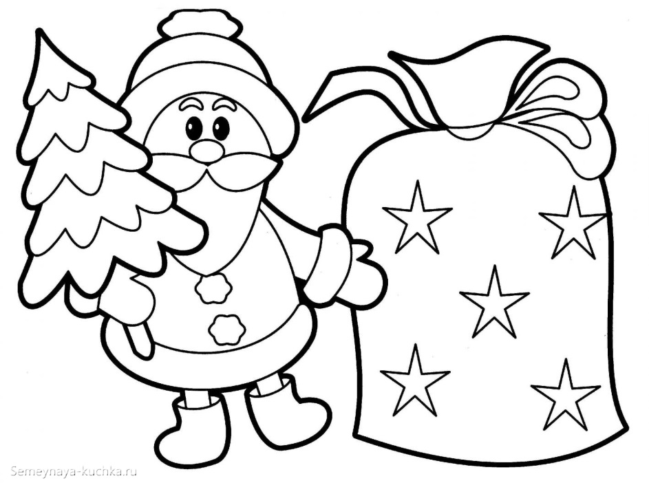 шаблон аппликации дед мороз с елкой и подарками