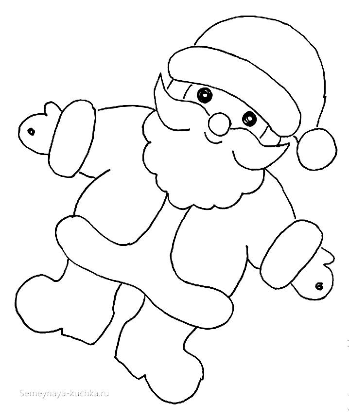 шаблон дед мороз для новогодней поделки