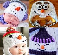 шапки со снеговиком вяжем крючокм