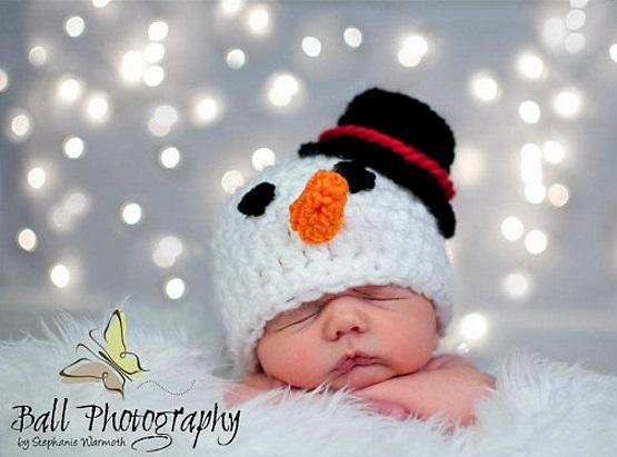 шапка крючком снеговик для детей