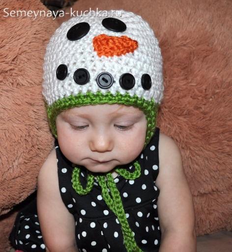 шапка снеговик крючком вяжем своими руками