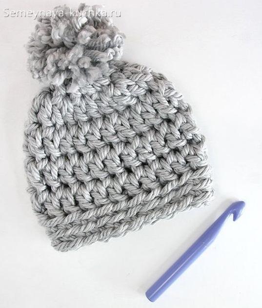 как связать простую шапку крючком