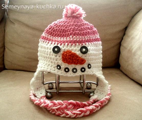 как связать шапку снеговик крючком детям
